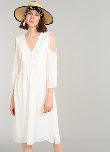 People By Fabrika Omuzu Açık Elbise Beyaz